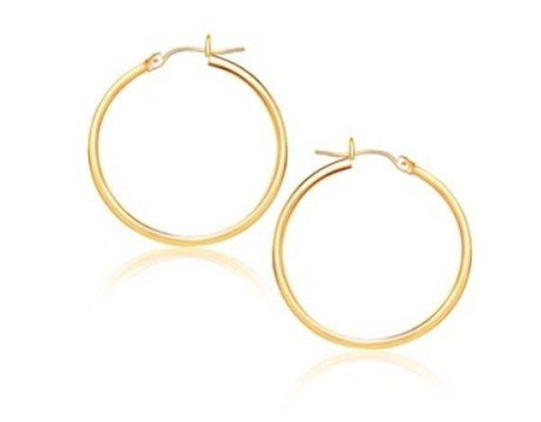 14KY GOLD POLISHED HOOP EARRINGS (25 MM)-