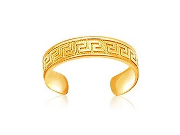 14KY GOLD LABYRINTH MOTIF TOE RING-