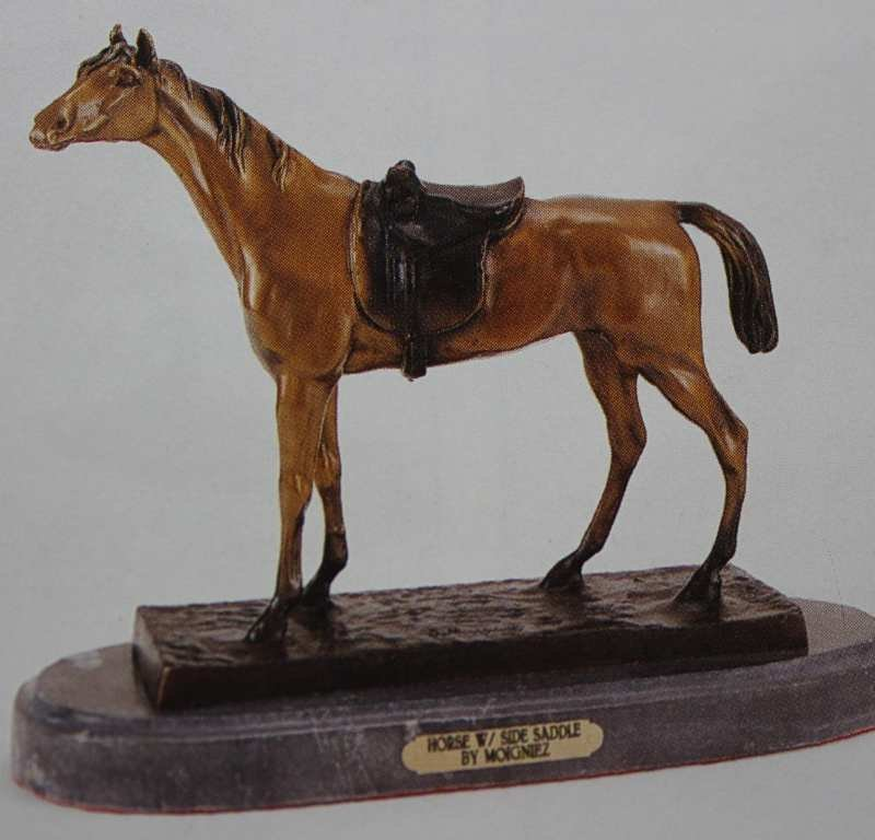 """""""HORSE WITH SIDE SADDLE"""" BRONZE SCULPTURE - MOIGNIEZ"""