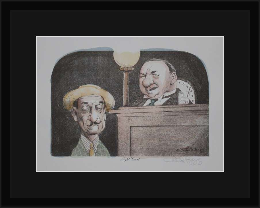 """CHARLES BRAGG """"NIGHT COURT"""" HAND SIGNED LITHOGRAPH"""