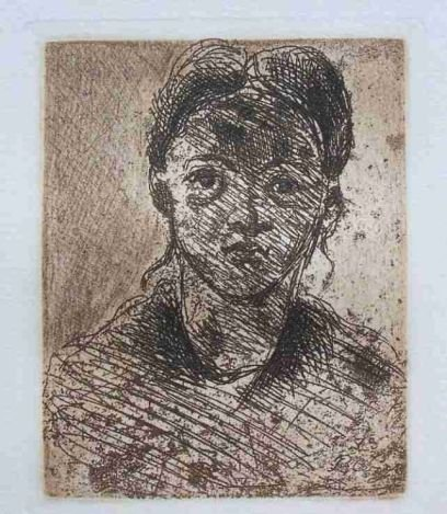 """CEZANNE """"HEAD OF A YOUNG GIRL"""" ETCHING"""