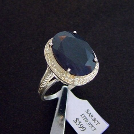 9.8 CT. SAPPHIRE & DIAMOND RING - STERLING