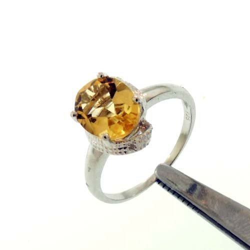 2.2CT CITRINE AND DIAMOND STERLING RING