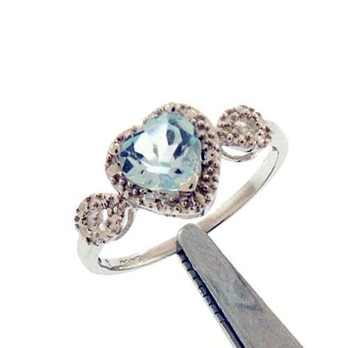 1.25CT BLUE TOPAZ AND DIAMOND STERLING RING