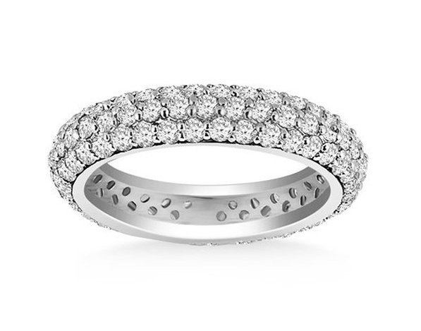 14KW GOLD CUPOLA ROUND DIAMOND ETERNITY RING IN 14KW