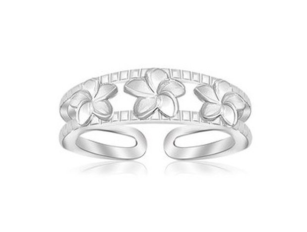 STERLING RHODIUM FINISHED FLORAL MOTIF OPEN TOE RING-