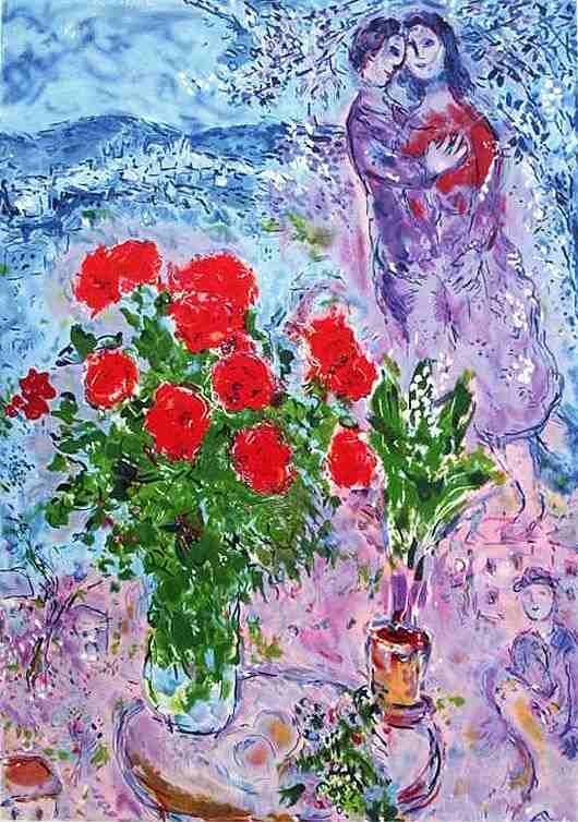 """CHAGALL """"RED BOUQUET WITH LOVERS"""""""