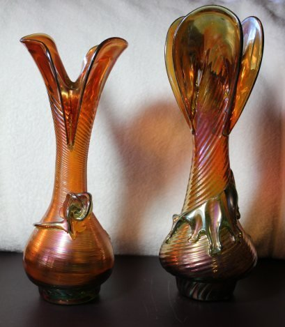 PAIR OF HAND BLOWN FAVRILE VASES