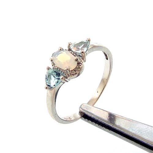 LAB OPAL, BLUE TOPAZ AND DIAMOND STERLING RING