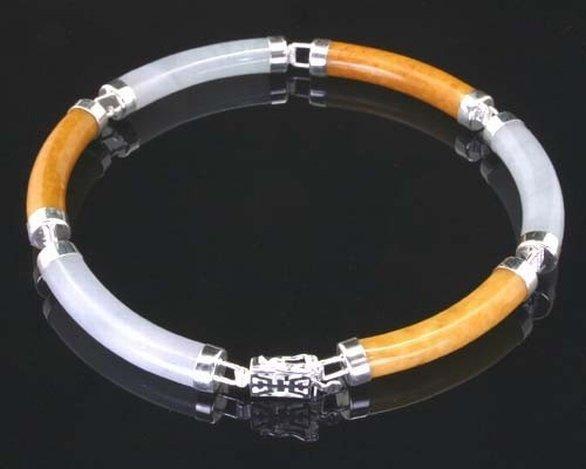YELLOW & WHITE JADE STERLING BRACELET