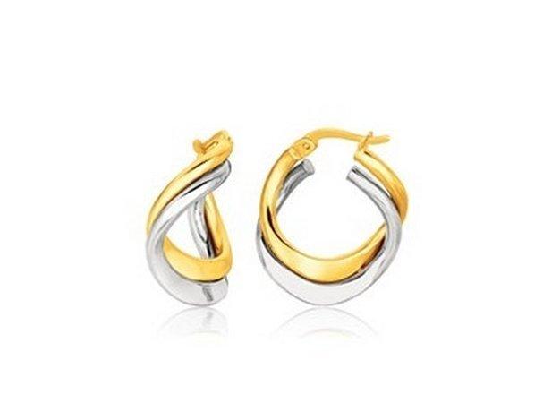 14K TWO TONE GOLD EARRINGS IN FANCY DOUBLE TWIST STYLE-