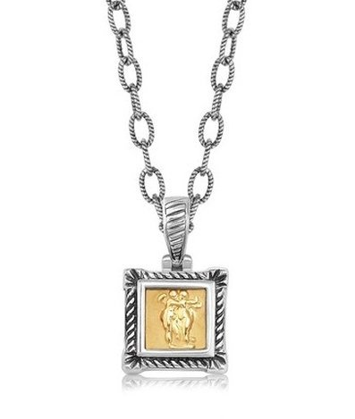 18KY GOLD & STERLING SQUARE PENDANT W/ A RELIEF DESIGN-