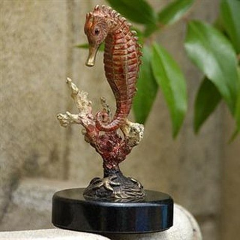 SEAHORSE WITH CORAL BRONZE SCULPTURE