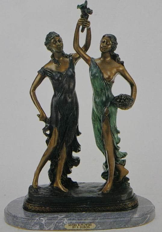 """""""SISTERS WITH FLOWERS"""" BRONZE SCULPTURE - DUBOIS"""