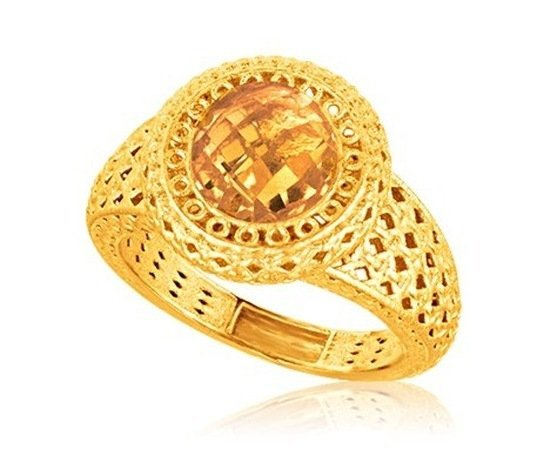 ITALIAN DESIGN 14KY GOLD CROCHET HALO RING W/ ROUND