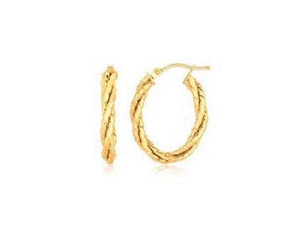 14KY GOLD TWISTED TUBE OVAL HOOP EARRINGS-