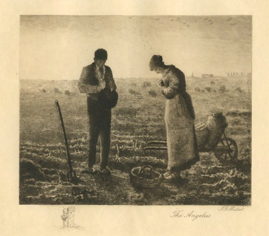 """JEAN-FRANCOIS MILLET ETCHING """"THE ANGELUS"""""""