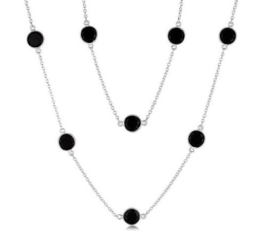 STERLING LONG NECKLACE W/ ROUND BLACK ONYX STATIONS