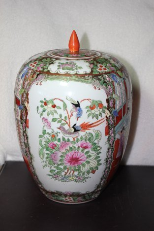 VINTAGE HAND PAINTED ASIAN VASE