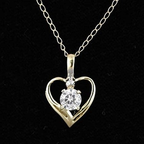 10KY GOLD HEART CZ SOLITAIRE NECKLACE