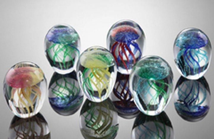 SET OF ART GLASS JELLYFISH SET OF 6