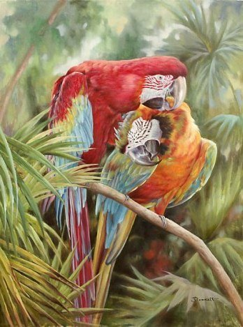 """""""THE PARROTS""""  EMBELLISHED GICLEE GALLERY WRAP"""