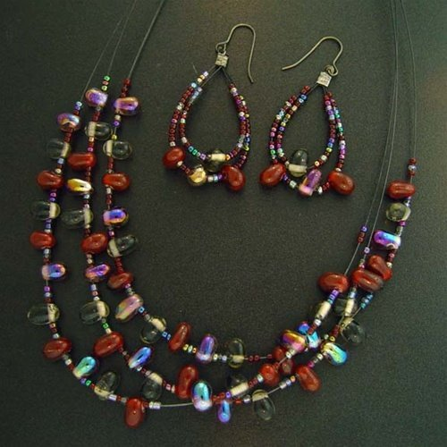 TRIPLE STRAND BEAD AND STONE NECKLACE AND EARRING SET