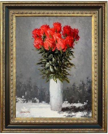 """""""RED FLOWER VASE"""" FRAMED EMBELLISHED GICLEE"""