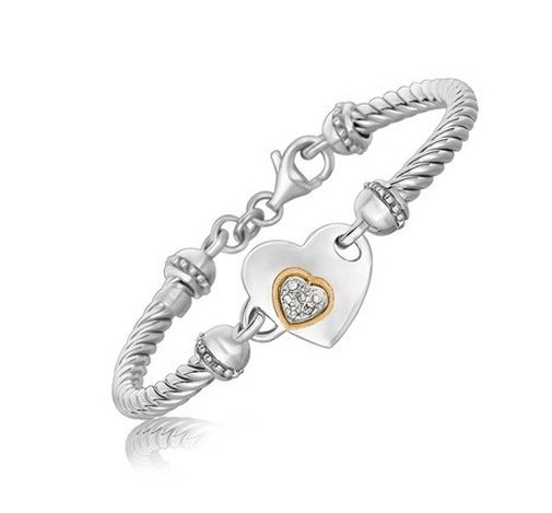 18KY GOLD & STERLING HEART DESIGN BRACELET W/ DIAMONDS