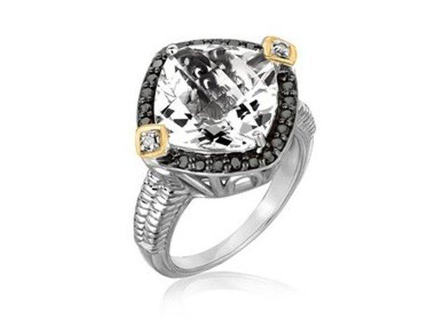 18KY GOLD & STERLING CRYSTAL QUARTZ DIAMOND CUSHION
