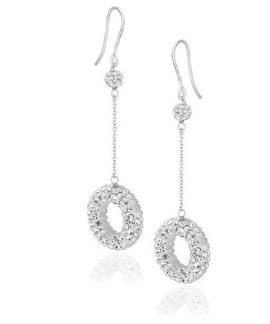 14KW GOLD ROUND CRYSTAL DROP EARRINGS-