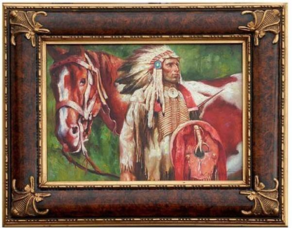 """""""CHIEF WITH HORSE"""" - ORIGINAL OIL ON CANVAS"""