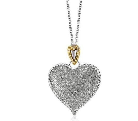DESIGNER STERLING & 14KY GOLD HEART SHAPE PAVE DIAMOND