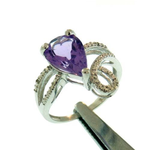 2.3CT AMETHYST AND DIAMOND STERLING RING
