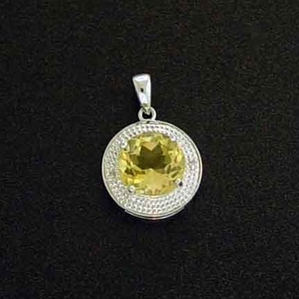 3.4CTW CITRINE AND DIAMOND PENDANT IN STERLING
