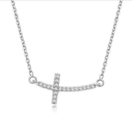 14KW GOLD CURVED CROSS DIAMOND STUDDED NECKLACE (.12CT