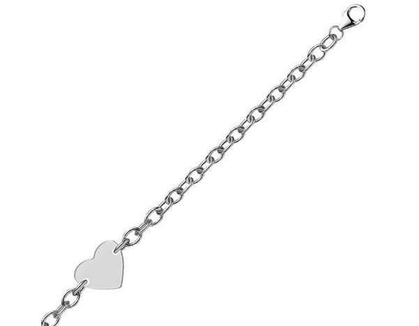 STERLING RHODIUM PLATED CHAIN BRACELET W/ A FLAT HEART