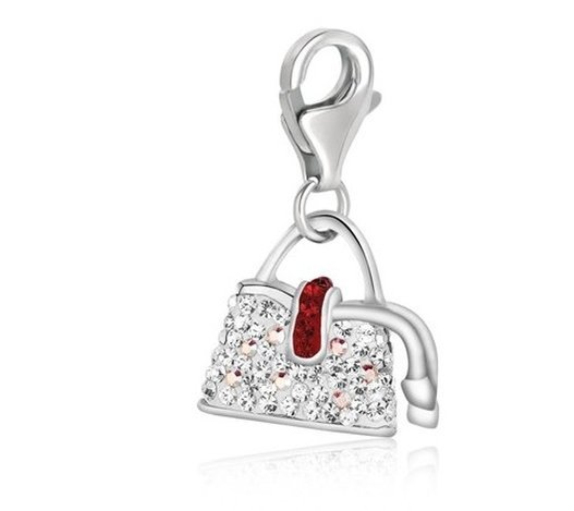 STERL HANDGAG CHARM W/ WHITE & RED TONE CRYSTAL ACCENTS