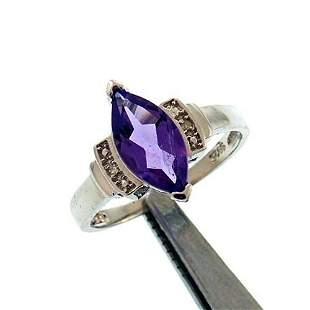 1.5CT AMETHYST AND DIAMOND STERLING RING