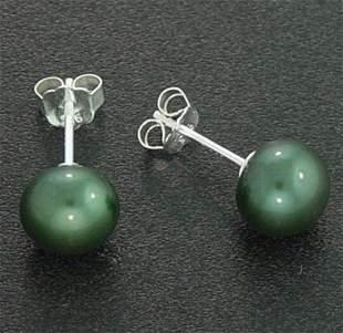 7 MM GREEN PEARL STUD EARRINGS