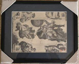 1914 ANTIQUE GALLERY STAMPED LITHOGRAPH