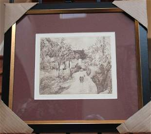 """CEZANNE """"A AUVERS"""" ETCHING"""