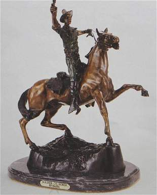 """SOLDIER ON HORSE"" BRONZE SCULPTURE - KAUBA"