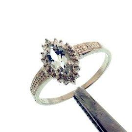 0.50CT AQUAMARINE AND DIAMOND STERLING RING