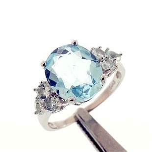 6.5CT BLUE TOPAZ STERLING RING