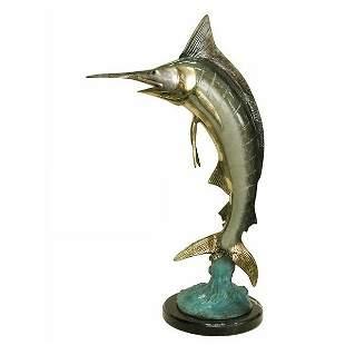 POLYCHROME SWORD FISH SCULPTURE