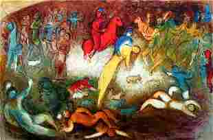 """CHAGALL """"CHLOE IS CARRIED OFF BY THE METHYMNEANS"""""""