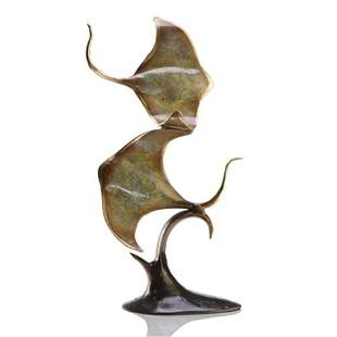 DOUBLE STING RAY BRONZE SCULPTURE