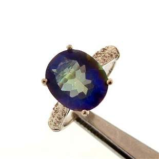 3.9CT MYSTIC BLUE TOPAZ AND DIAMOND STERLING RING