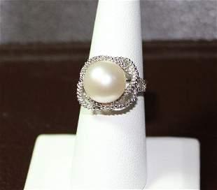 12MM WHITE PEARL& DIAMOND STERLING RING - .925 STERLING